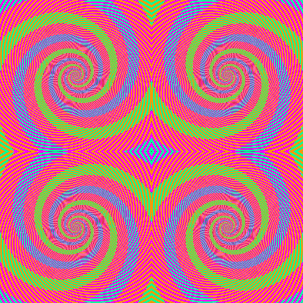 Parece haver espirais verdes e azuis —na verdade, elas são idênticas (R=0, G=255, B=150).